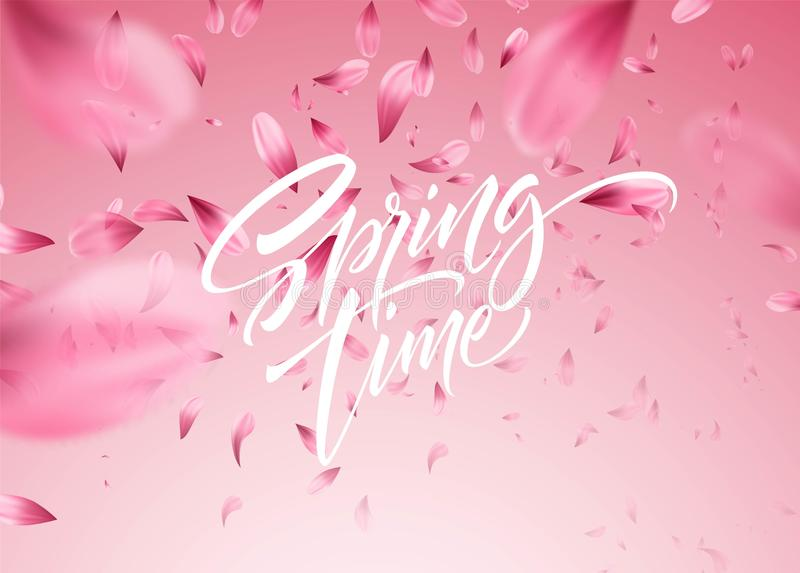 Cherry blossom petal background with Spring time lettering. Vector illustration royalty free illustration