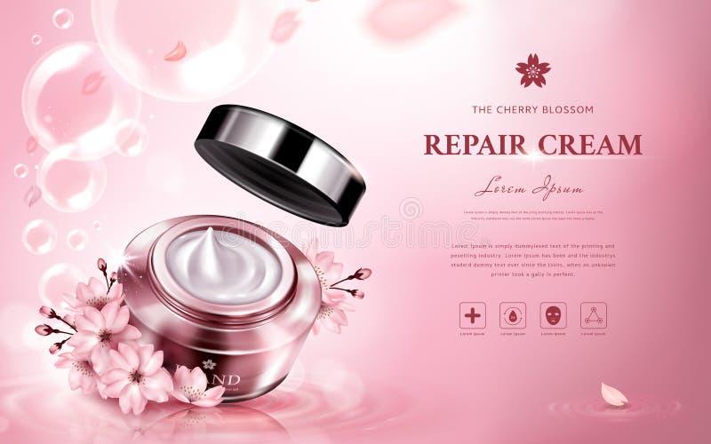 Cherry blossom repair cream royalty free illustration