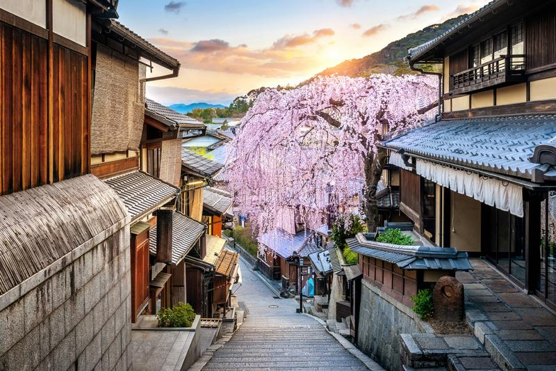 Cherry blossom in springtime at the historic Higashiyama district, Kyoto in Japan royalty free stock photography