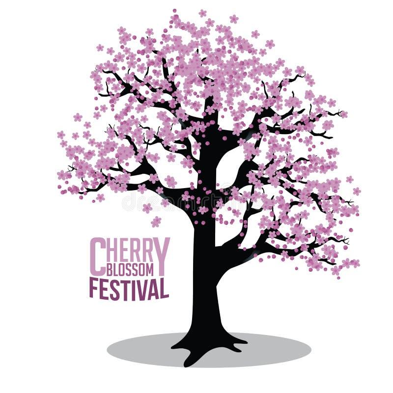 Cherry blossom tree isolated on white stock illustration