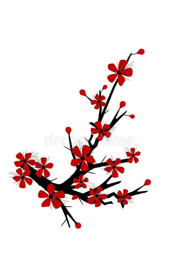 cherry blossom tree silhouette stock vector illustration