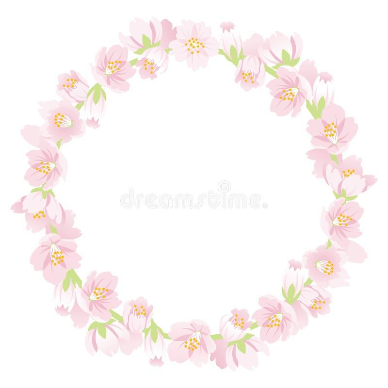 Cherry Blossom Wreath vektor illustrationer