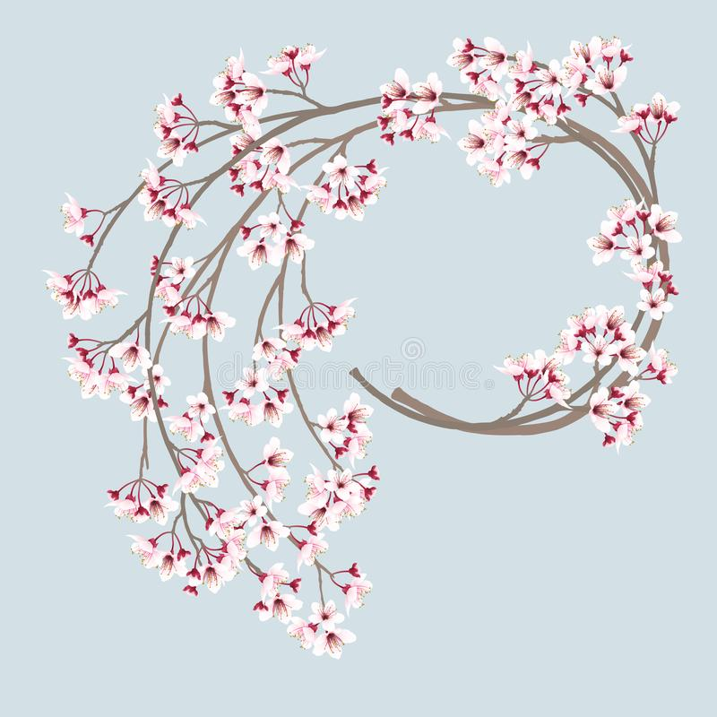 Cherry blossom wreath. Wreath of cherry blossom branches, sakura flower branches, sweet pink flowers. Vector illustration vector illustration