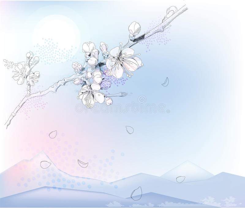 Download Cherry blossoms stock vector. Image of panorama, landscape - 19233098