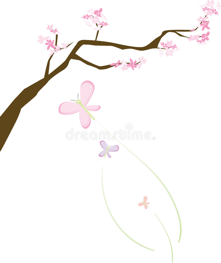 Download Cherry Blossoms And Butterflies Stock Vector - Image: 8644125