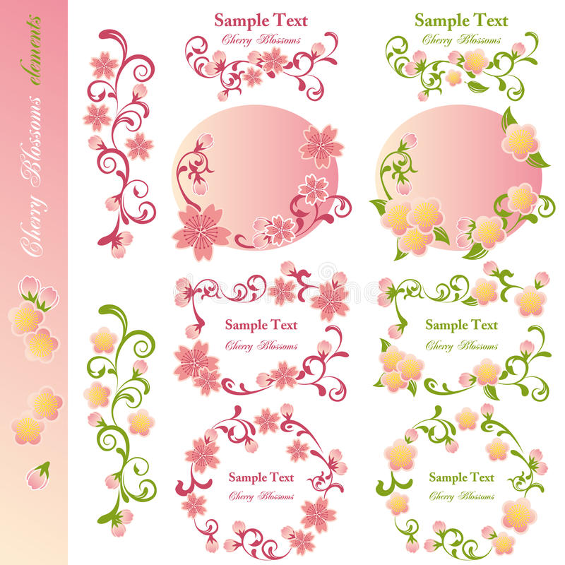 Download Cherry Blossoms Design Elements Stock Vector - Image: 18582079