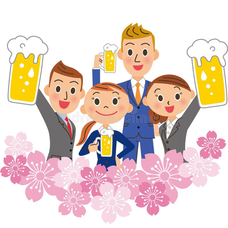 Cherry blossoms and employees stock photography