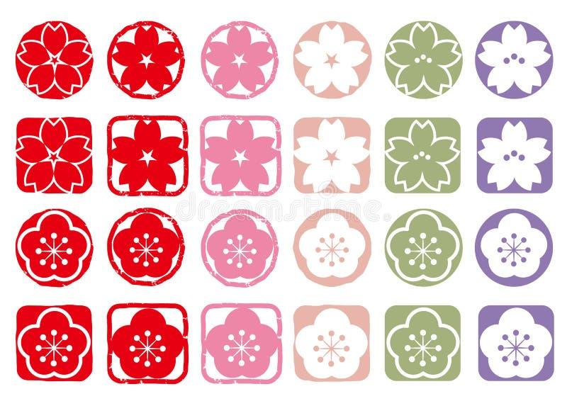 Cherry Blossoms et prune - ensemble d'icône illustration de vecteur