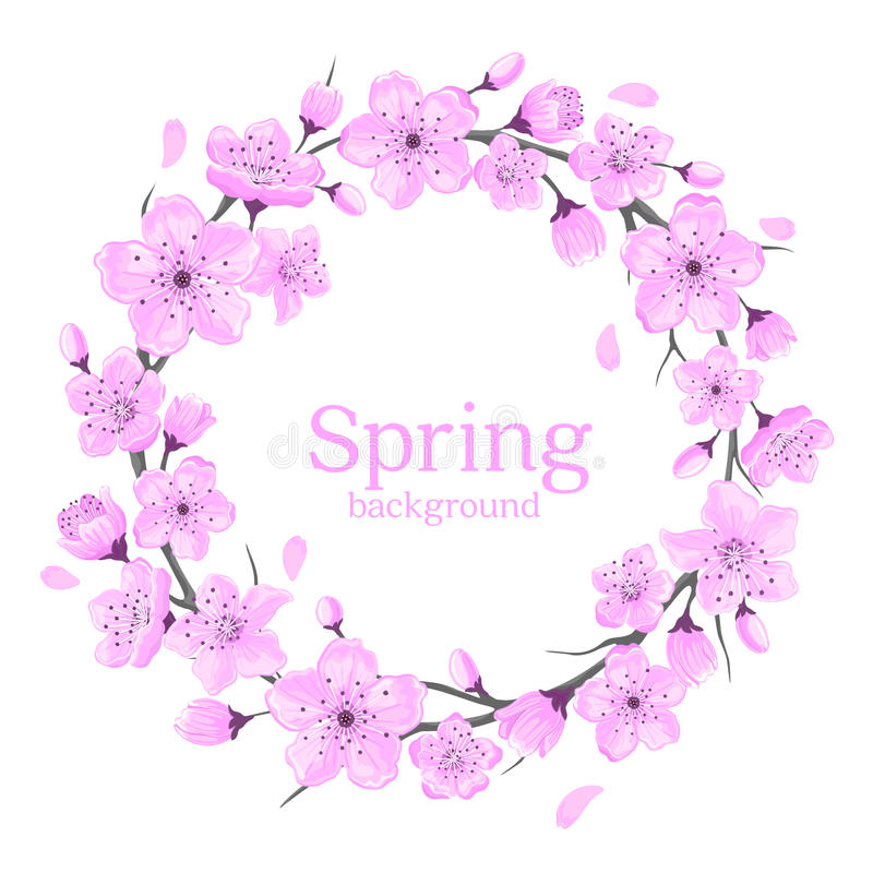 Cherry Blossoms Flowers Wreath. Flowers Background royalty free illustration