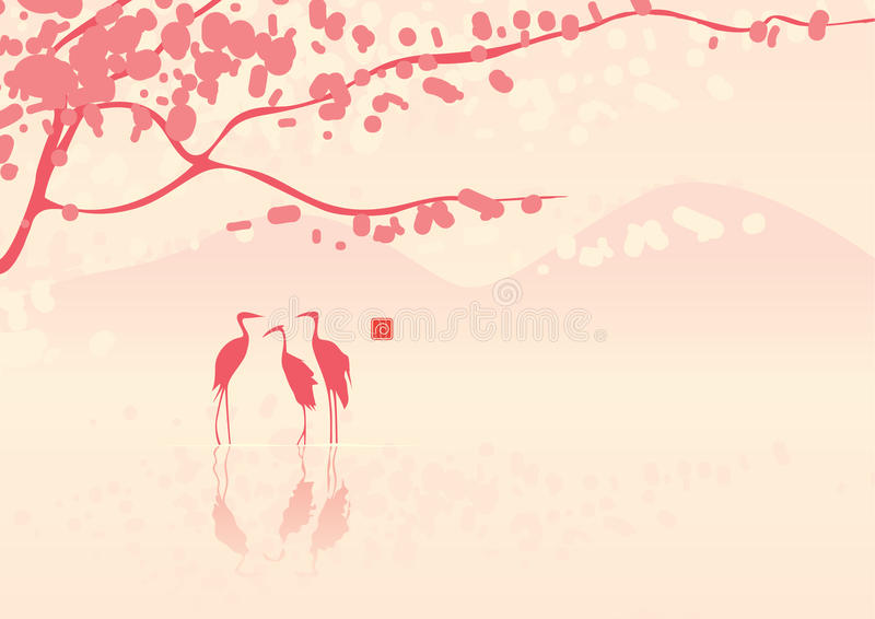 Cherry Blossoms And Herons Royalty Free Stock Photos