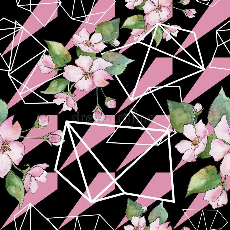 Cherry Blossoms rosa Fiore botanico floreale Modello senza cuciture del fondo illustrazione di stock