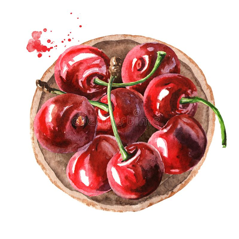 Cherry. Bowl with ripe cherries. Top view. Watercolor hand drawn illustration, isolated on white background vector illustration