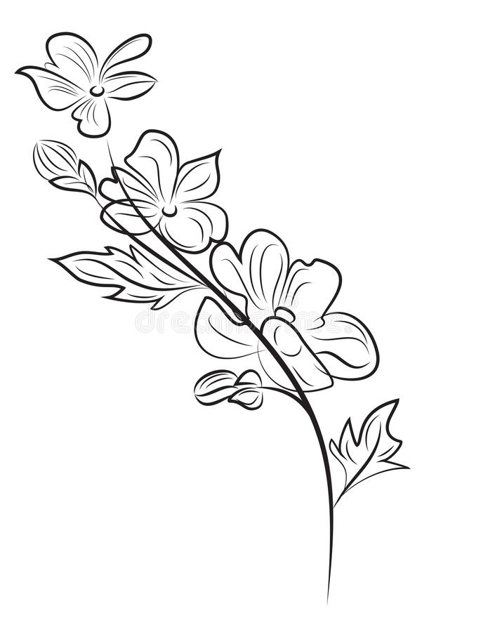 Cherry branch beautiful floral composition stock illustration