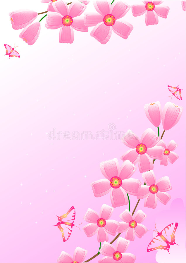 Cherry and butterflies royalty free illustration