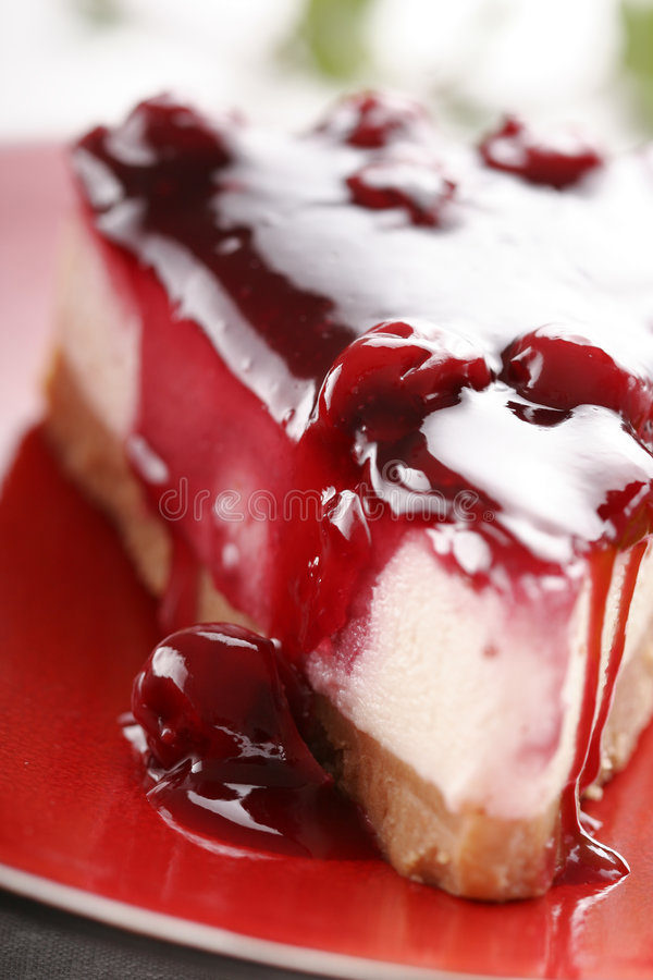 Cherry cheesecake royalty free stock image