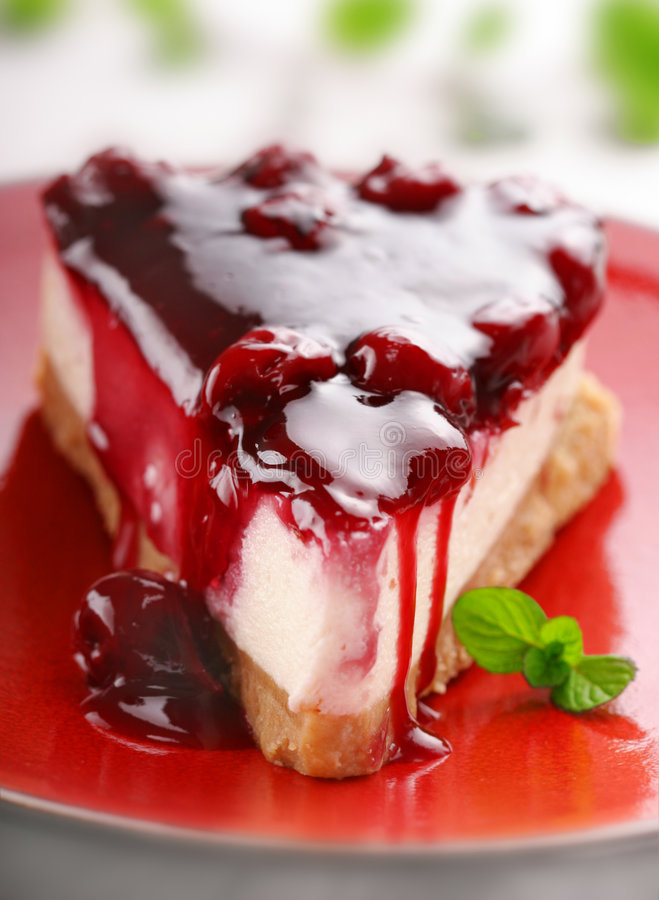 Cherry cheesecake stock image