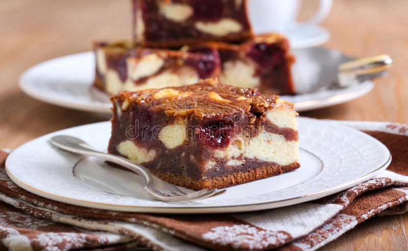 Cherry cheesecake marbled brownies stock photo