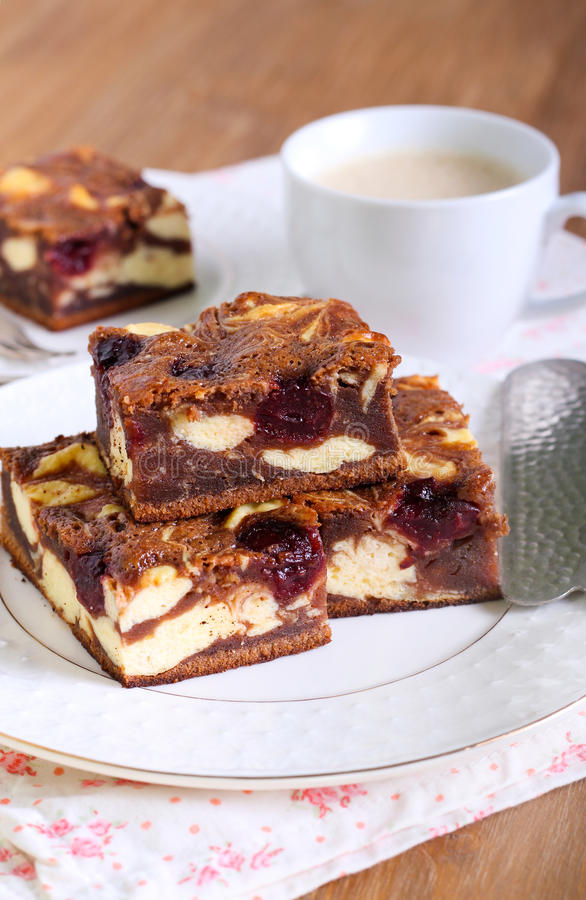 Cherry cheesecake marbled brownies stock images