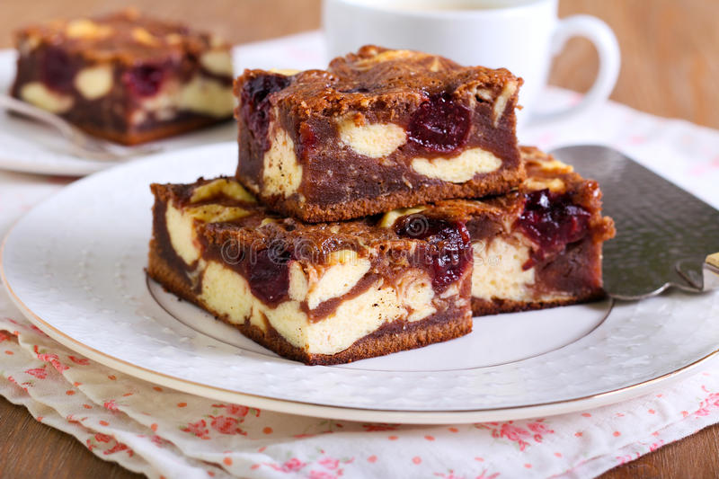 Cherry cheesecake marbled brownies royalty free stock images
