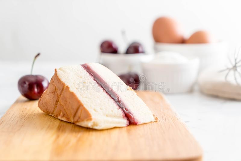 cherry chiffon cake stock photography