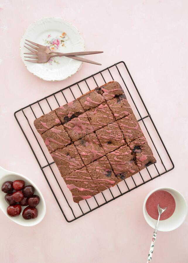 Cherry chocolate brownies royalty free stock photos