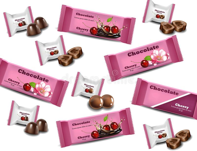 Cherry Chocolates Vector realistic. Products packaging brand logo design mock up. Cherry Chocolates Vector realistic pattern background. Products packaging brand vector illustration