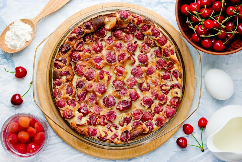 Cherry clafouti - traditional french sweet fruit dessert clafoutis royalty free stock photo