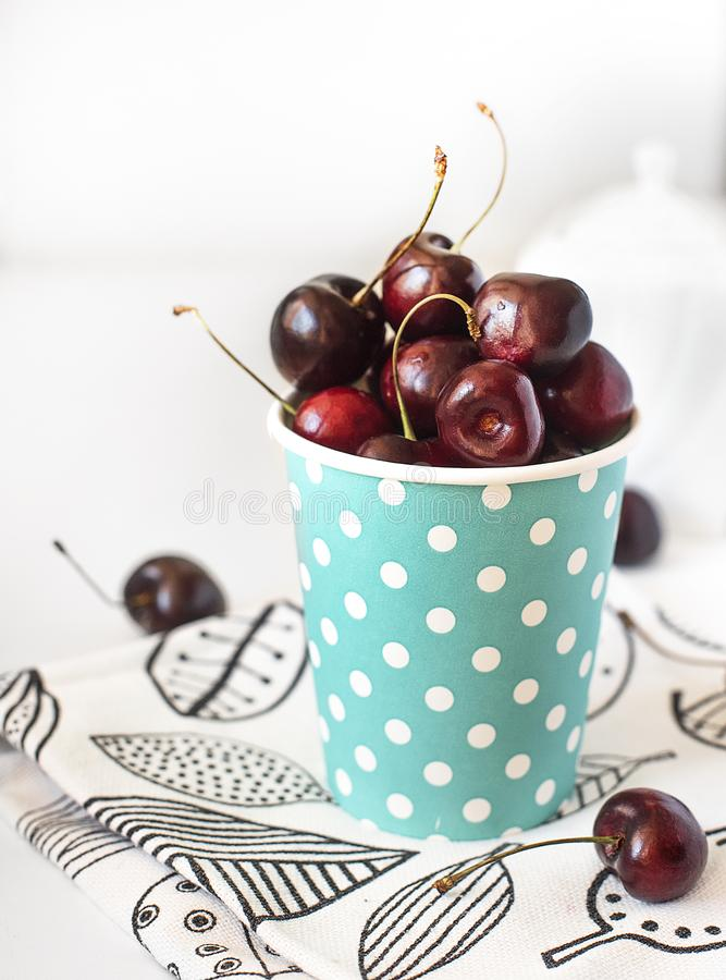 Red cherry on a white background stock photo