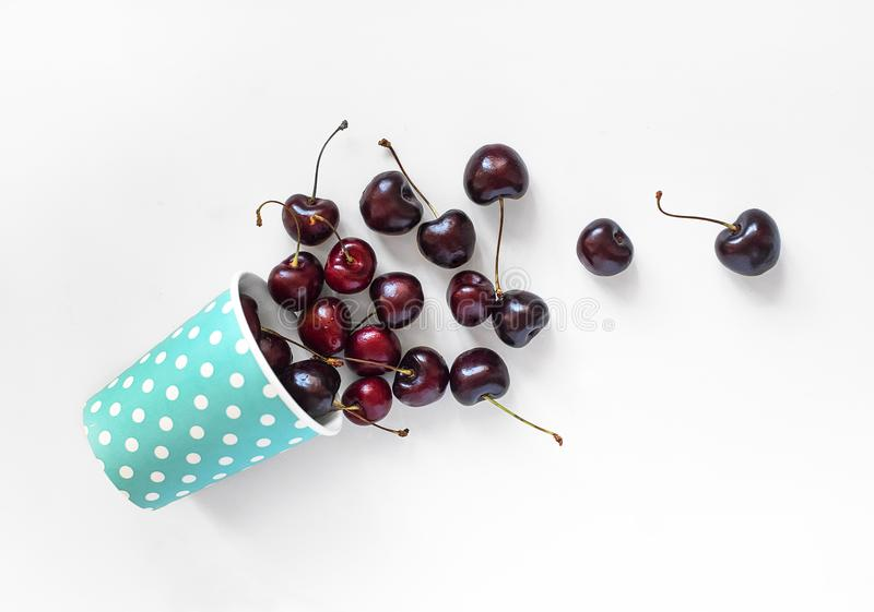 Red cherry on a white background royalty free stock photo