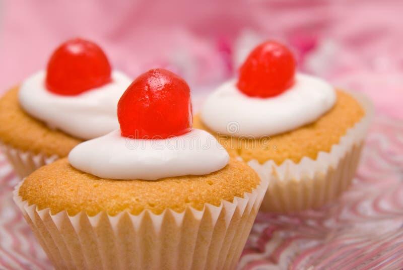 Cherry Cup Cakes Stock Photos