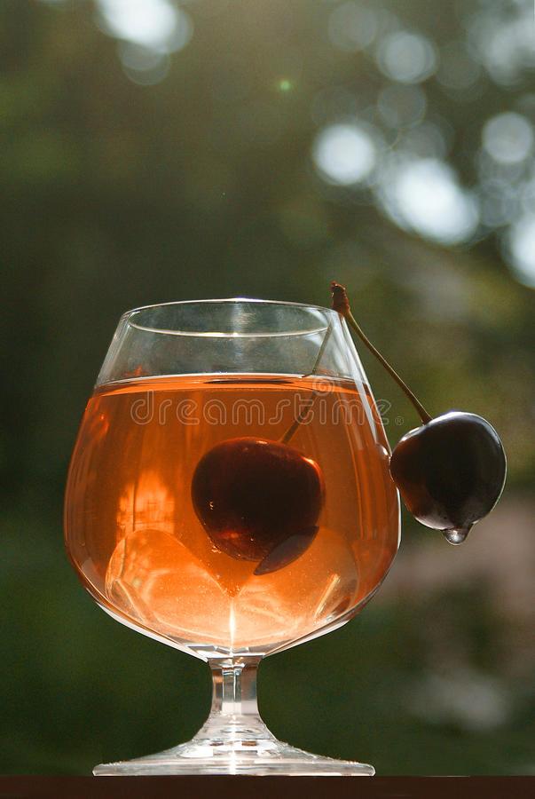 Cherry cup glass stock photo