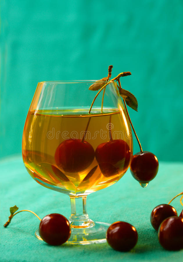 Cherry cup glass royalty free stock photo