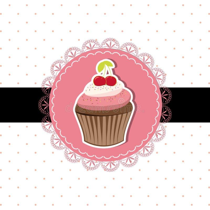 Cherry cupcake invitation card royalty free illustration