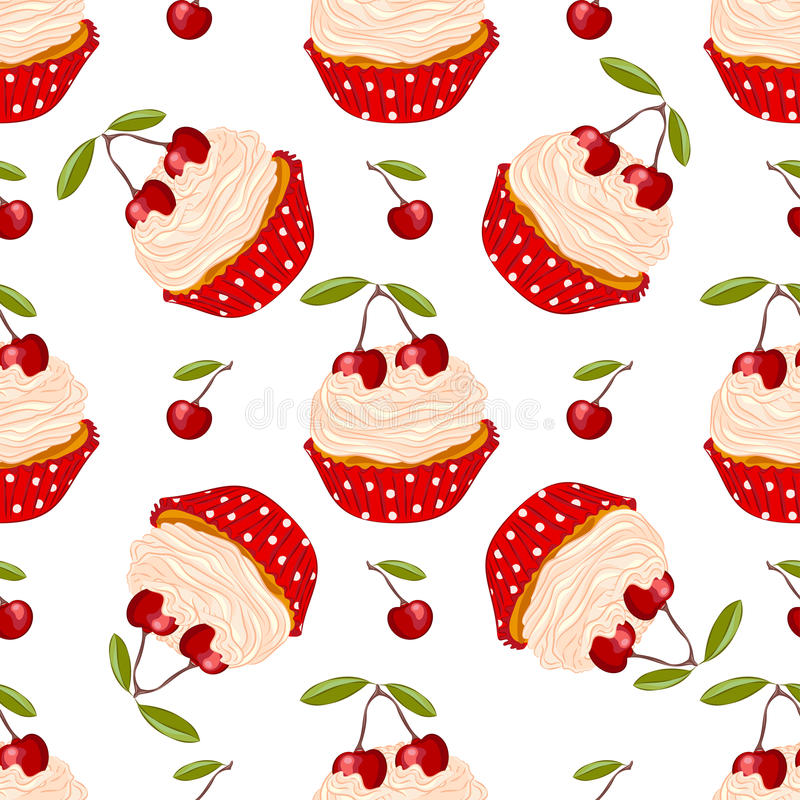 Cherry cupcake seamless pattern stock photos