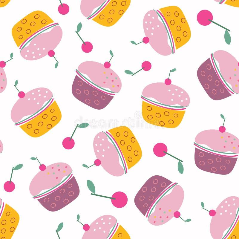 Cherry Cupcakes Seamless Pattern sabroso stock de ilustración