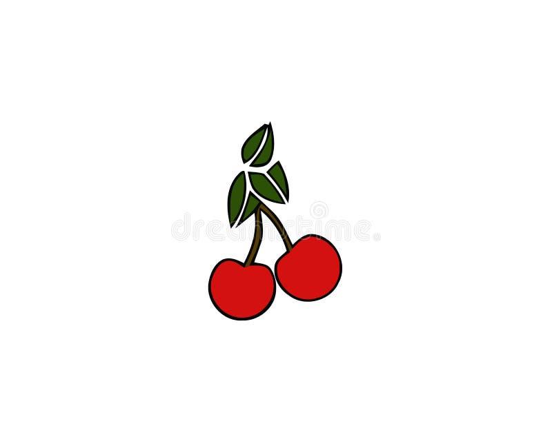 cherry czerwony 2 Czereśniowa ikona wiśnie jeden półkowy słodki biel Wektorowa ilustracja odizolowywająca na biały tle ilustracja wektor