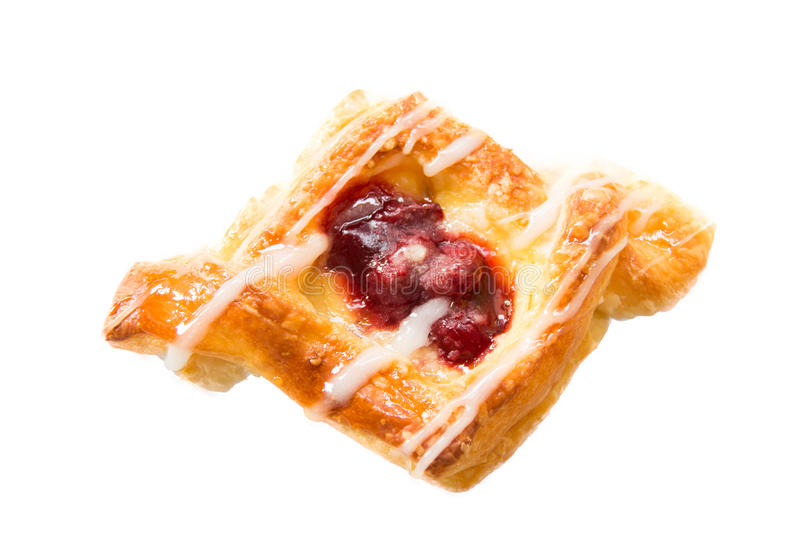 Cherry danish pastry breakfest sweet. Close-up of cherry danish pastry breakfest sweet stock photos