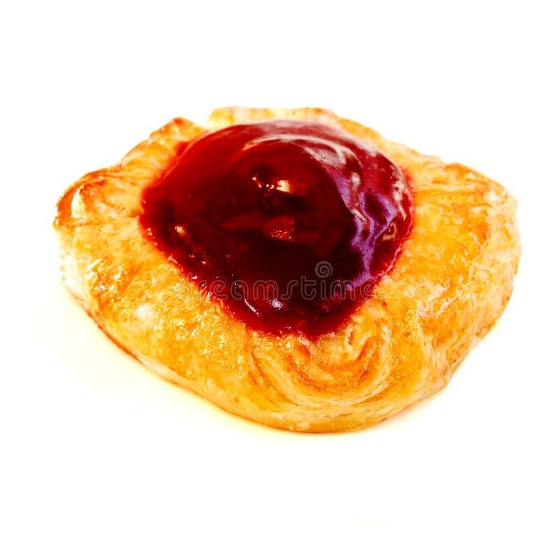 Cherry denish. Denish pastry with cherry isolated on white background stock photography