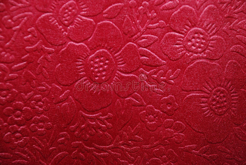 Cherry Fabric With Floral Designs Royalty Free Stock Images