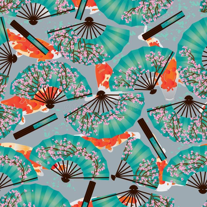 Cherry fan koi origami seamless pattern vector illustration