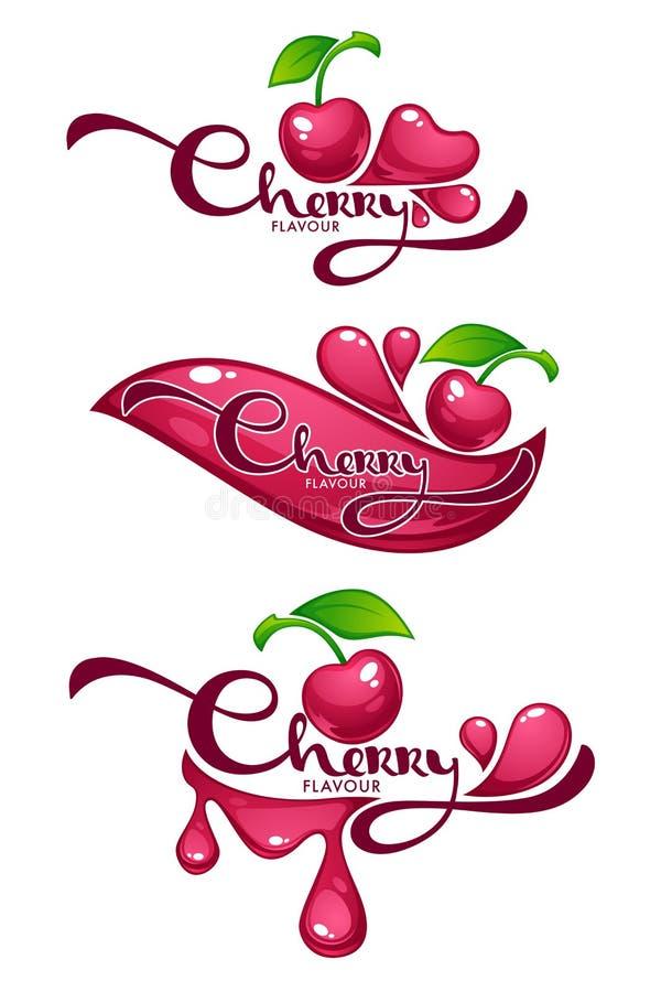Cherry Flavour, colección del vector del brillo y del jugo brillante stic stock de ilustración