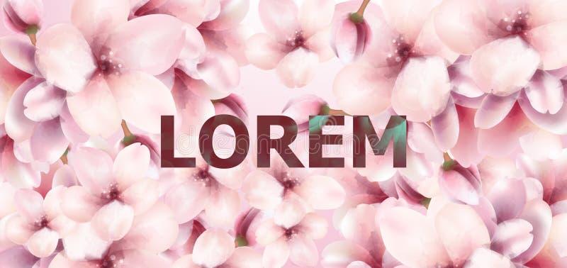 Cherry Flowers-waterverf achtergrondvector De lente bloeiende bloemendecors vector illustratie