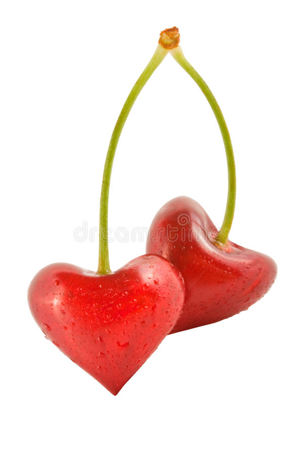 Cherry in the form of hearts royalty free stock photos