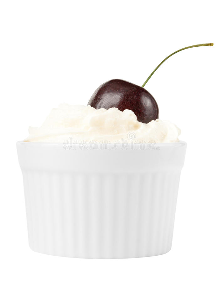 Cherry fruit and whip cream royalty free stock photo