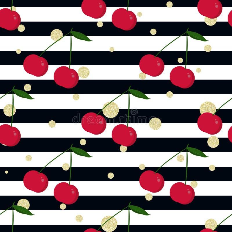 Cherry, gold glitter polka dot and stripes stock illustration