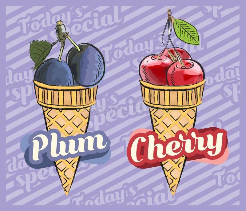 Cherry Ice Cream PflaumenEiscreme Vektorillustration der Fruchteist?te, von Hand gezeichneter Entwurf vektor abbildung