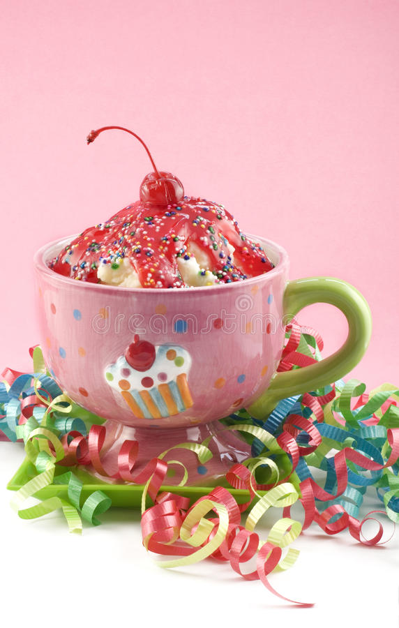 Free Cherry Ice Cream Sundae With Ribbons Royalty Free Stock Photo - 10948295