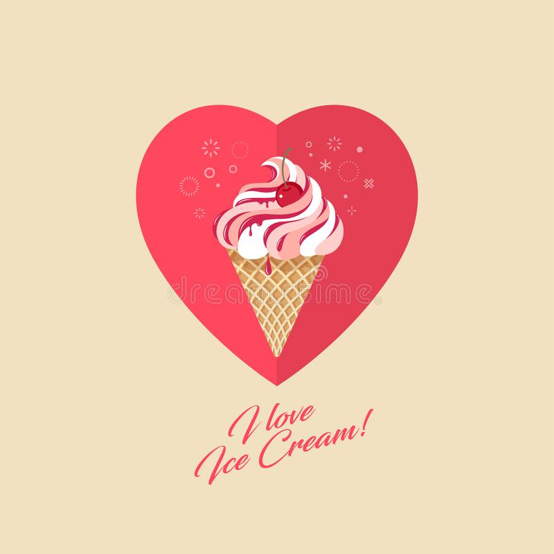 Cherry ice cream in waffle cone. Ice cream, jam and cherry on heart. royalty free illustration