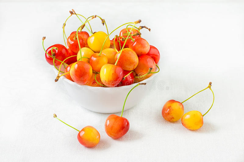 Cherry isolated on white background. Agriculture. Close-up. Top view stock photo