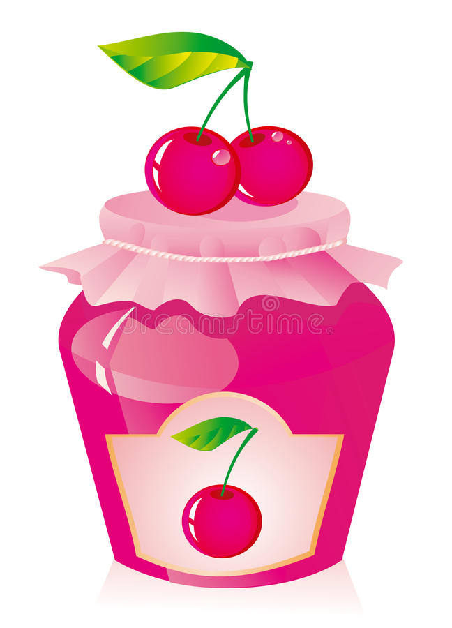 Cherry jam. Jar of cherry jam and fresh cherry vector illustration